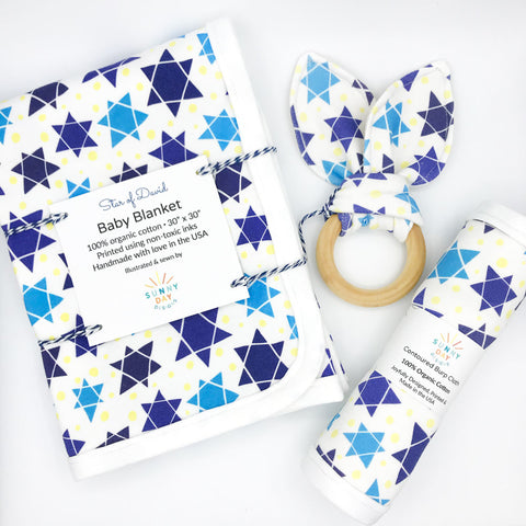 Blue, White and Yellow Star of David Printed Organic Cotton Baby Blanket, Teether, and Burp Cloth by Sunny Day Designs. Handmade in the USA.