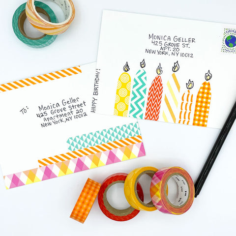 2 Fun Greeting Card Envelopes Embellished with Colorful Patterned Washi Tape by Sunny Day Designs - Snail Mail Fun Blog Post