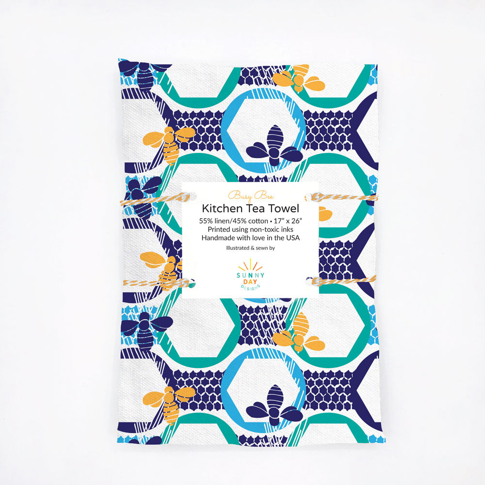 Colorful and modern honeybee printed kitchen dish towel,  yellow, blue, turquoise and white. Made in the USA from linen/cotton fabric