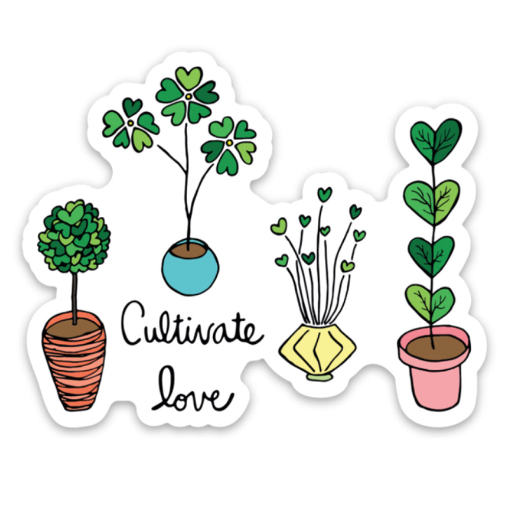 cultivate love potted plant mom fun sticker for laptop Sunny Day Designs colorful gardening sticker for valentines day