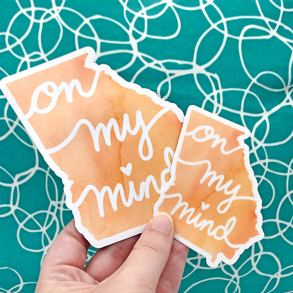 Georgia On My Mind Peach Vinyl Sticker and Vinyl Magnet Fun Georgia Gifts by Sunny Day Designs