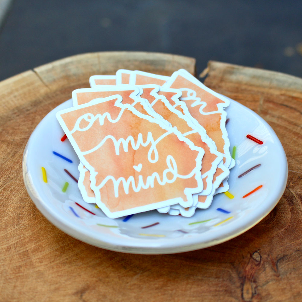 Georgia On  My Mind Fun Vinyl Stickers In Colorful Sprinkle Bowl