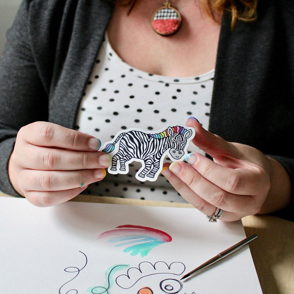 Cute Zippy Zebra Laptop Sticker In Hands Sunny Day Designs Donation With Purchase Spoonie Gift