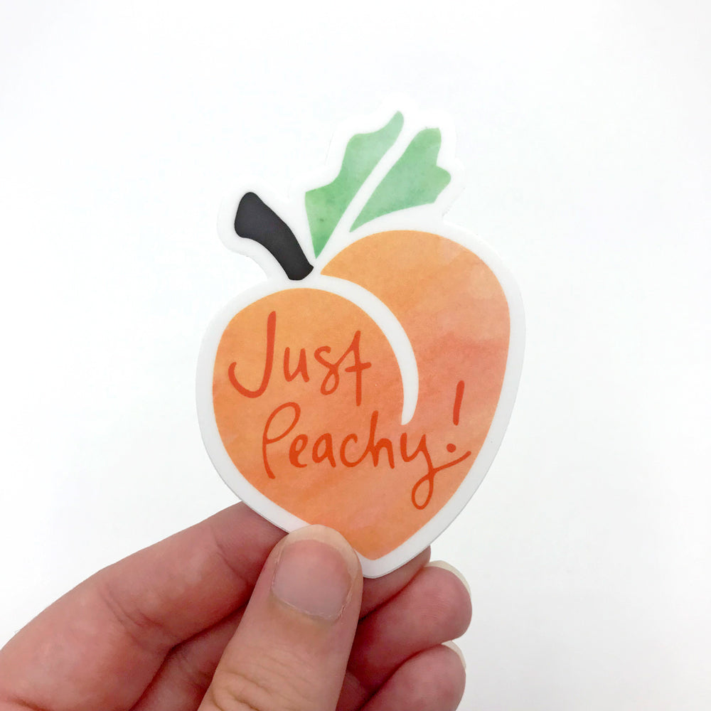 Cute Just Peachy Peach Vinyl Sticker Fun Fruit Laptop Sticker Sunny Day Designs