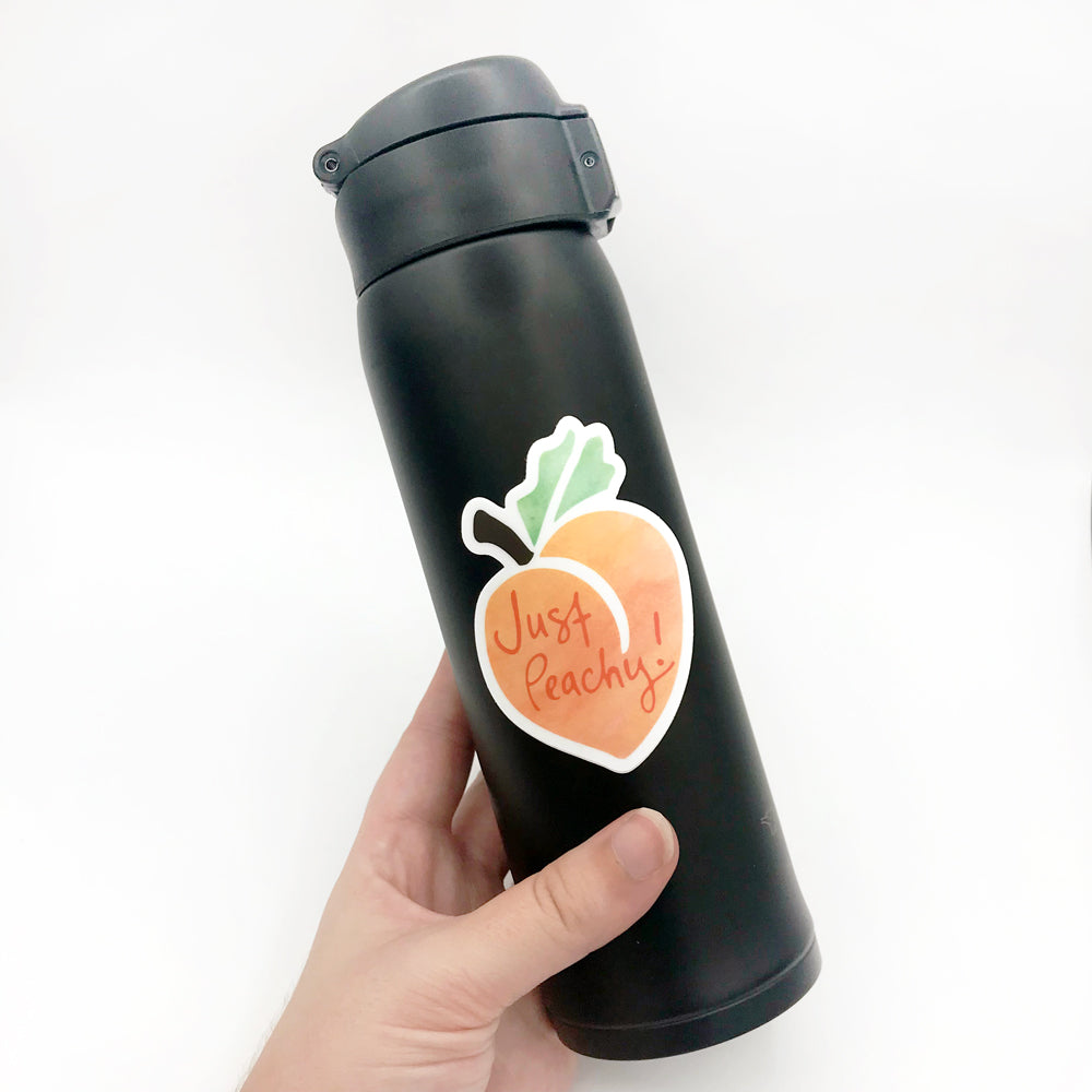 Just Peachy Vinyl Water Bottle Sticker Fun Sarcastic Georgia Gift Sunny Day Designs