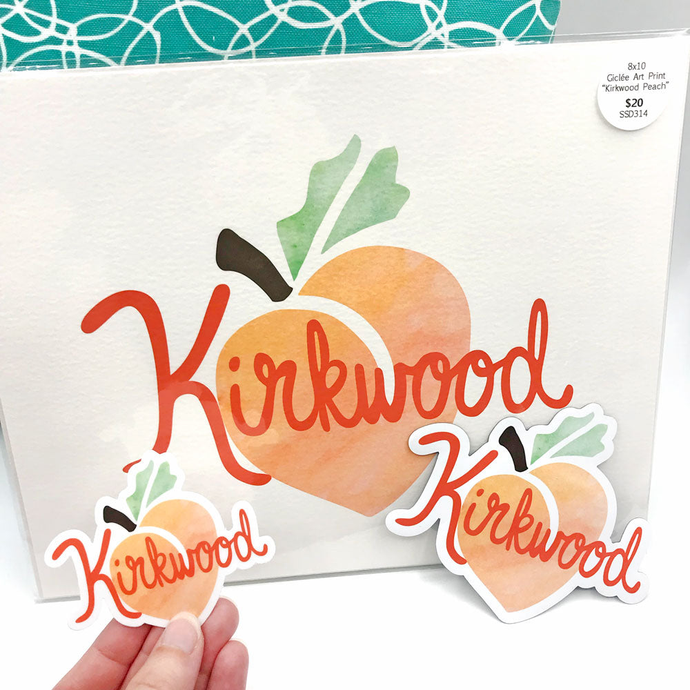 Kirkwood Peach Atlanta GA Gifts Art Print 8x10 Fun Sticker and vinyl magnet Sunny Day Designs