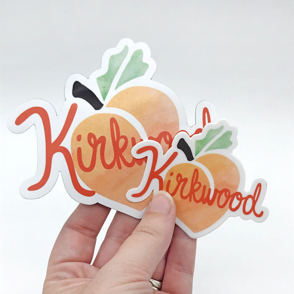 Kirkwood Peach Atlanta Georgia Neighborhood Gift Vinyl Sticker Vinyl Magnet Sunny Day Designs