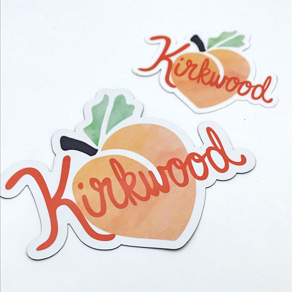 Kirkwood Peach Atlanta Neighborhood Gifts Fun Sticker and Fun Magnet  Sunny Day Designs