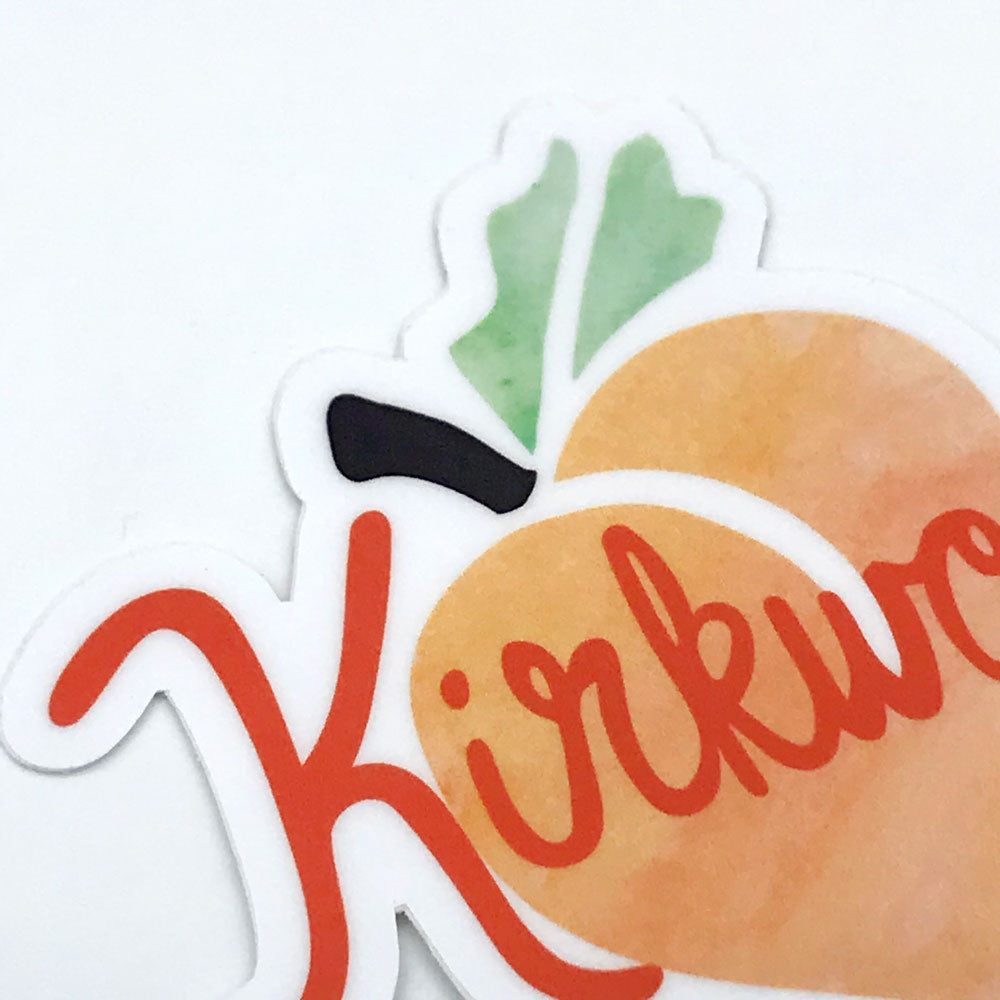 Kirkwood Peach Vinyl Sticker Close Up Fun Laptop Sticker Atlanta Neighborhood Gift Sunny Day Designs