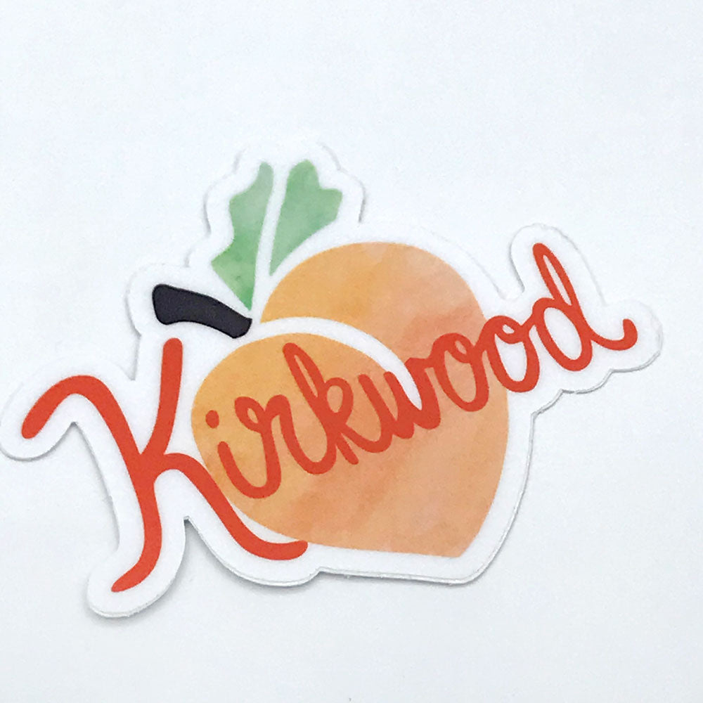 Kirkwood Atlanta Neighborhood Sticker Fun Peach Vinyl Sticker Sunny Day Designs