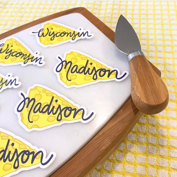 Yellow Madison Wisconsin Cheese Stickers Cheeseboard Fun Gift For Wisconsinite Sunny Day Designs