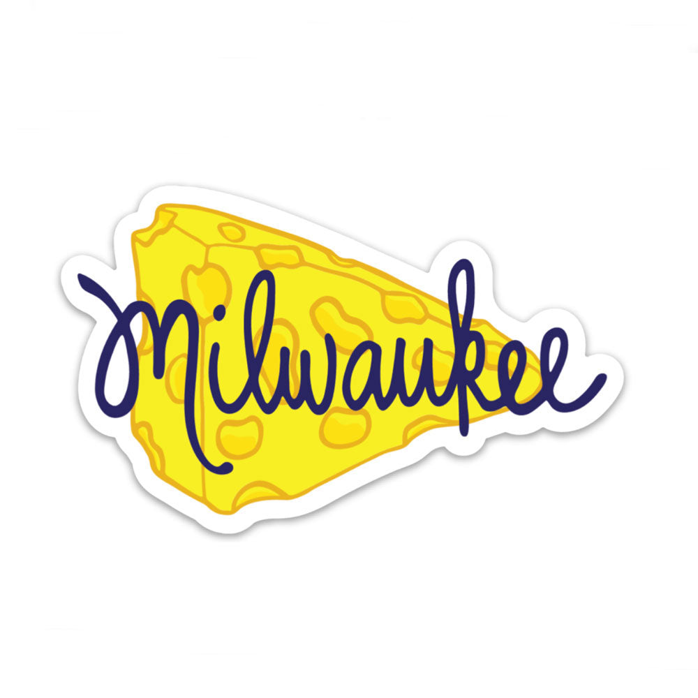 Milwaukee Wisconsin Yellow Cheese Vinyl Sticker Fun Sticker Gift Sunny Day Designs