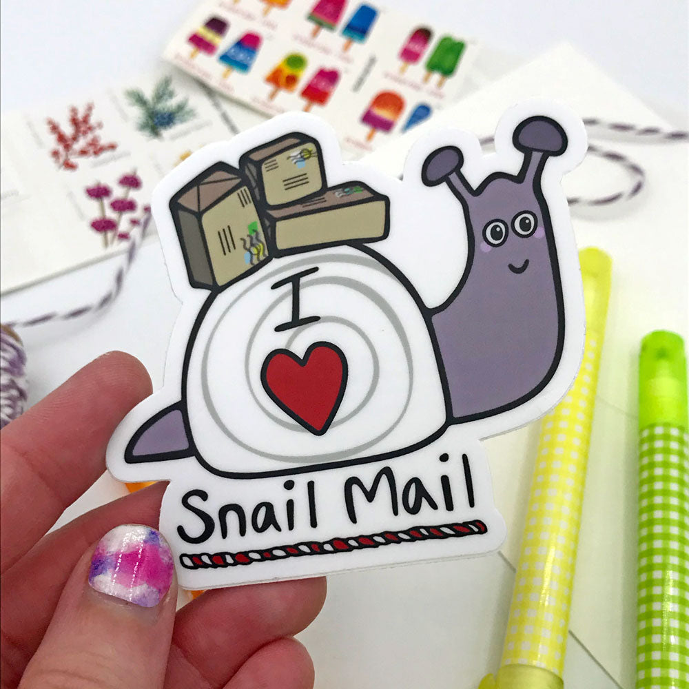 Cute Snail Mail Sticker Fun Sticker Purple Snail USPS Post Office Support Gift Sunny Day Designs