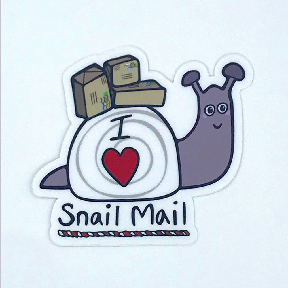 I Love Snail Mail Fun Vinyl Sticker Purple Snail With Packages Cute Laptop Sticker Sunny Day Designs