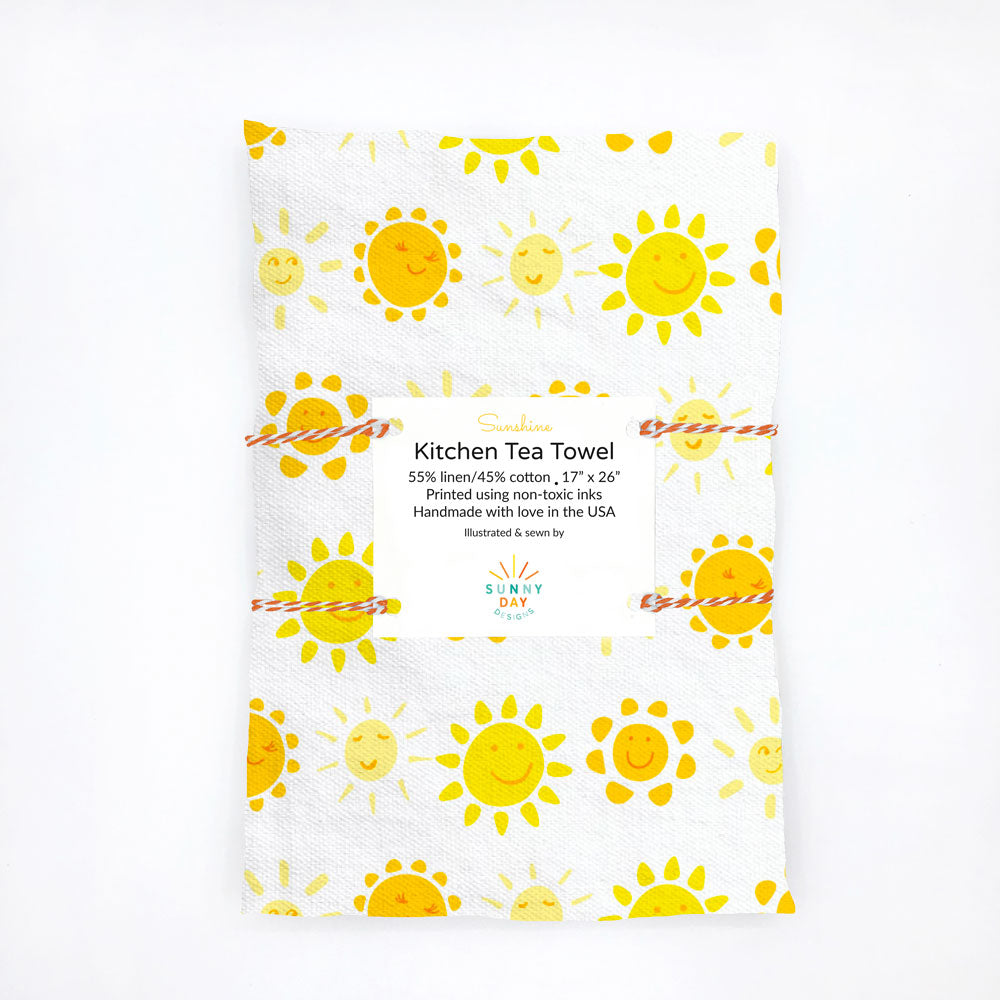 Cheerful Yellow, Orange and white Smiling Sun Printed Kitchen Towel, Linen/Cotton, designed and made in the USA