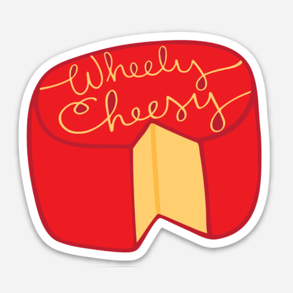 Pun Vinyl Sticker Funny Laptop Sticker Wheely Cheesy Wisconsin Cheese Vinyl Sticker Red Yellow Sunny Day Designs