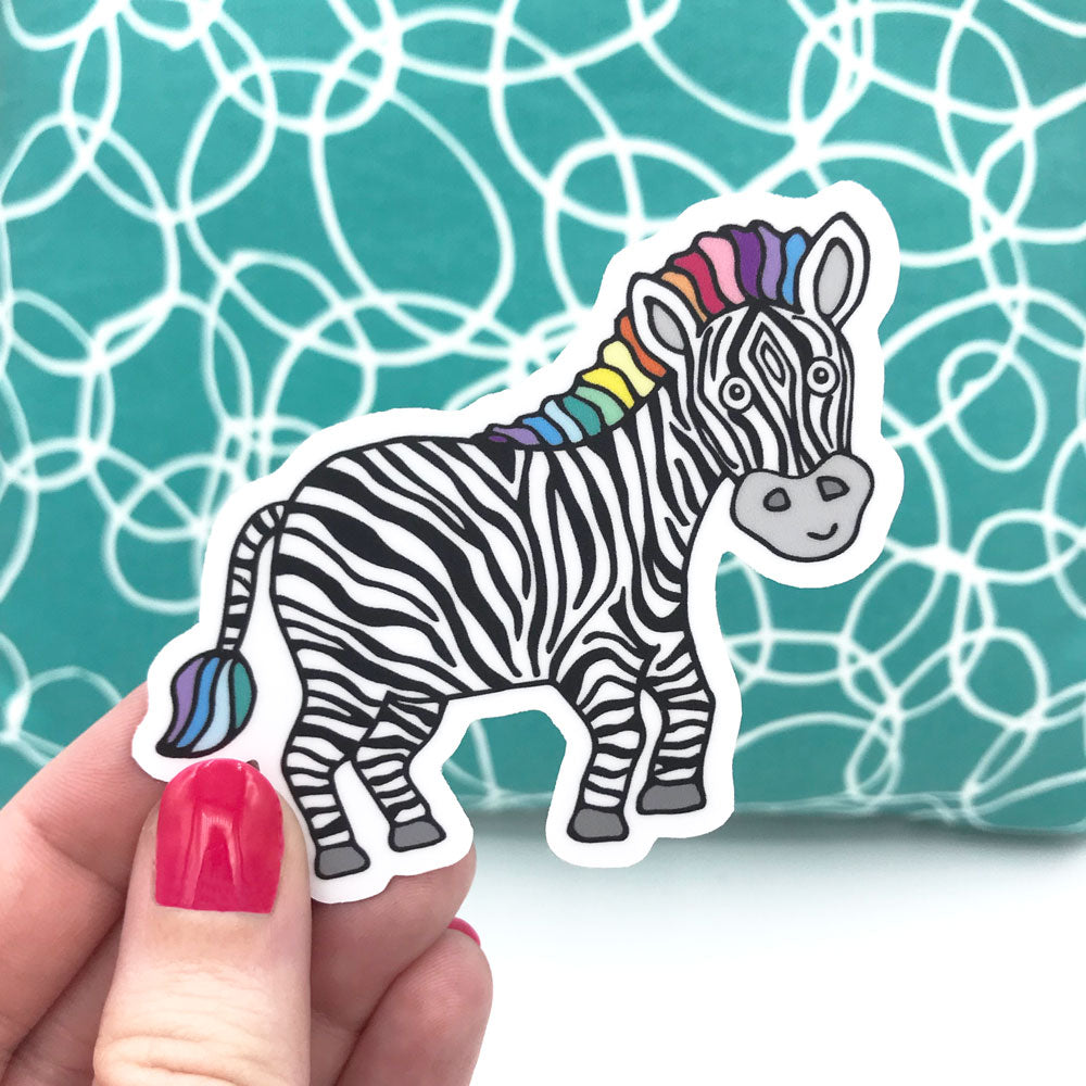 Colorful Cute Zippy Zebra Vinyl Sticker Donation With Purchase To NORD Rare Disease Sticker Sunny Day Designs