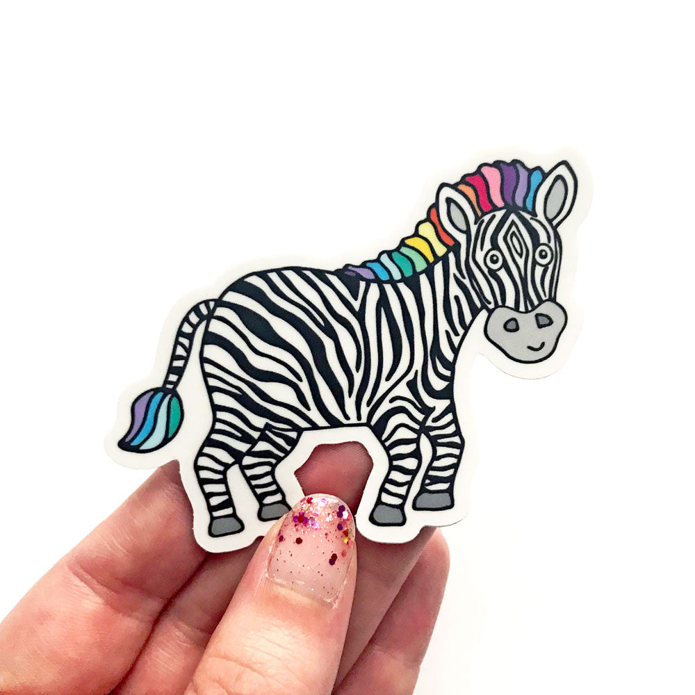Cute Zippy Zebra Rare Disease Support Gift Vinyl Sticker Laptop NORD Show Your Stripes Sunny Day Designs