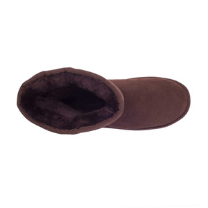 Ladies Chocolate 9-Inch Sheepskin Boot - top