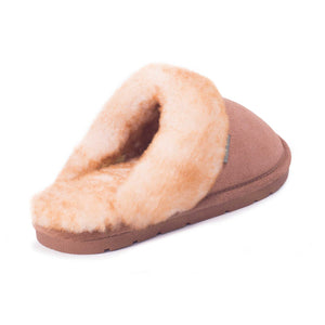 Ladies Sheepskin Scuff Chestnut - back