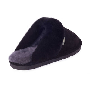 Ladies Sheepskin Scuff Black - back