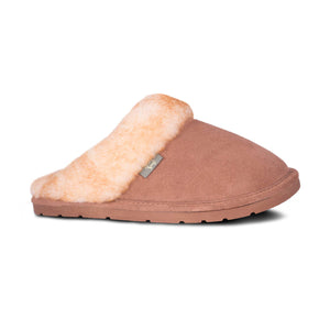 Ladies Sheepskin Scuff Chestnut - side