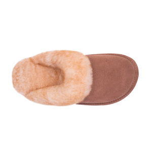 Ladies Sheepskin Scuff Chestnut - top