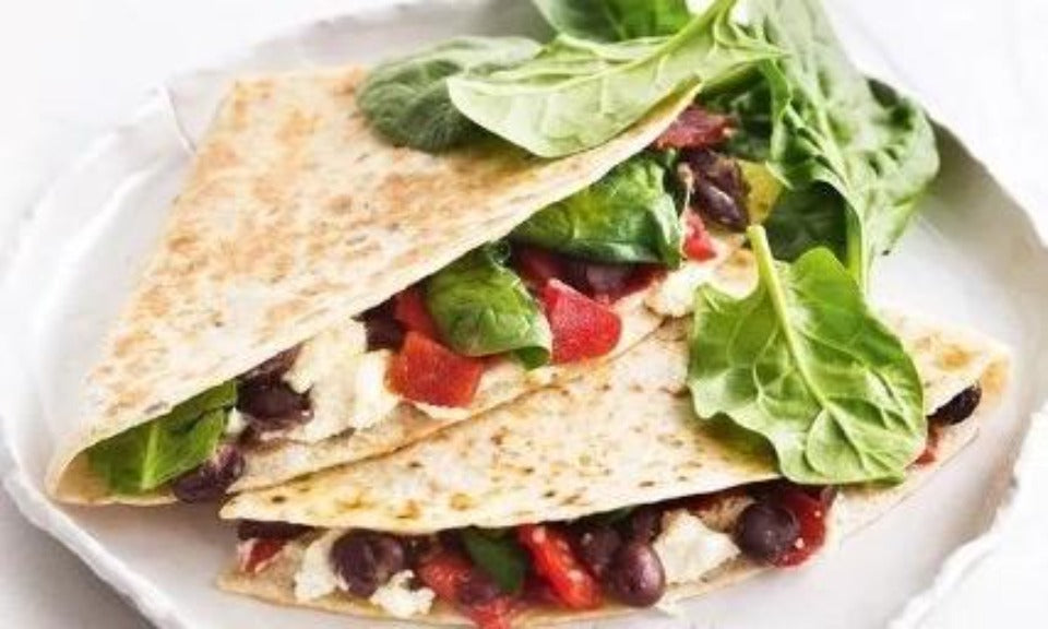 Toasted chilli black bean, spinach and cheese tortilla