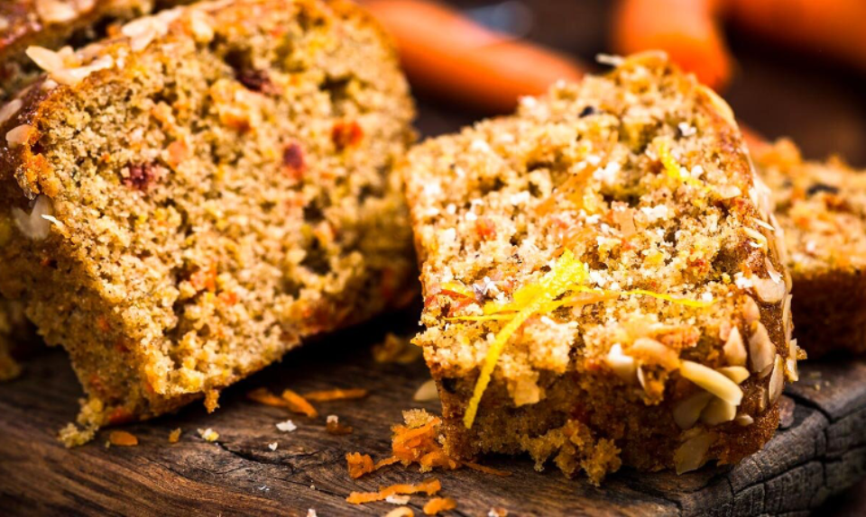 Olive oil, carrot and apple bread