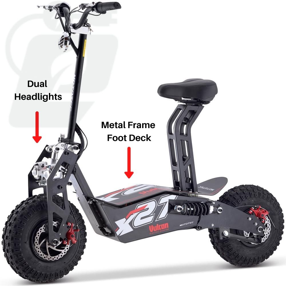 MotoTec Vulcan 1600w 48v Electric Scooter front image MT-Vulcan-1600w_Black