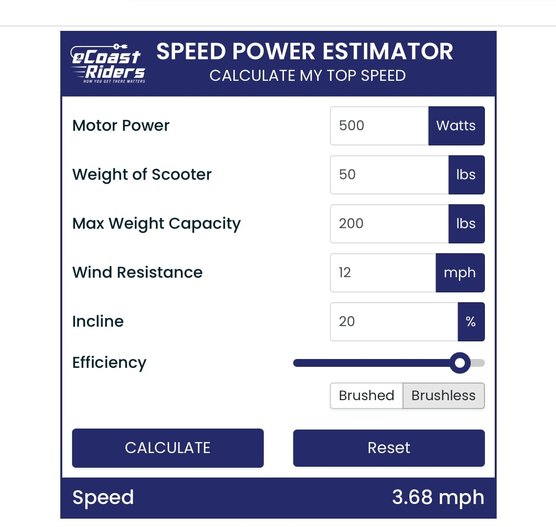 electric scooter speed calculator