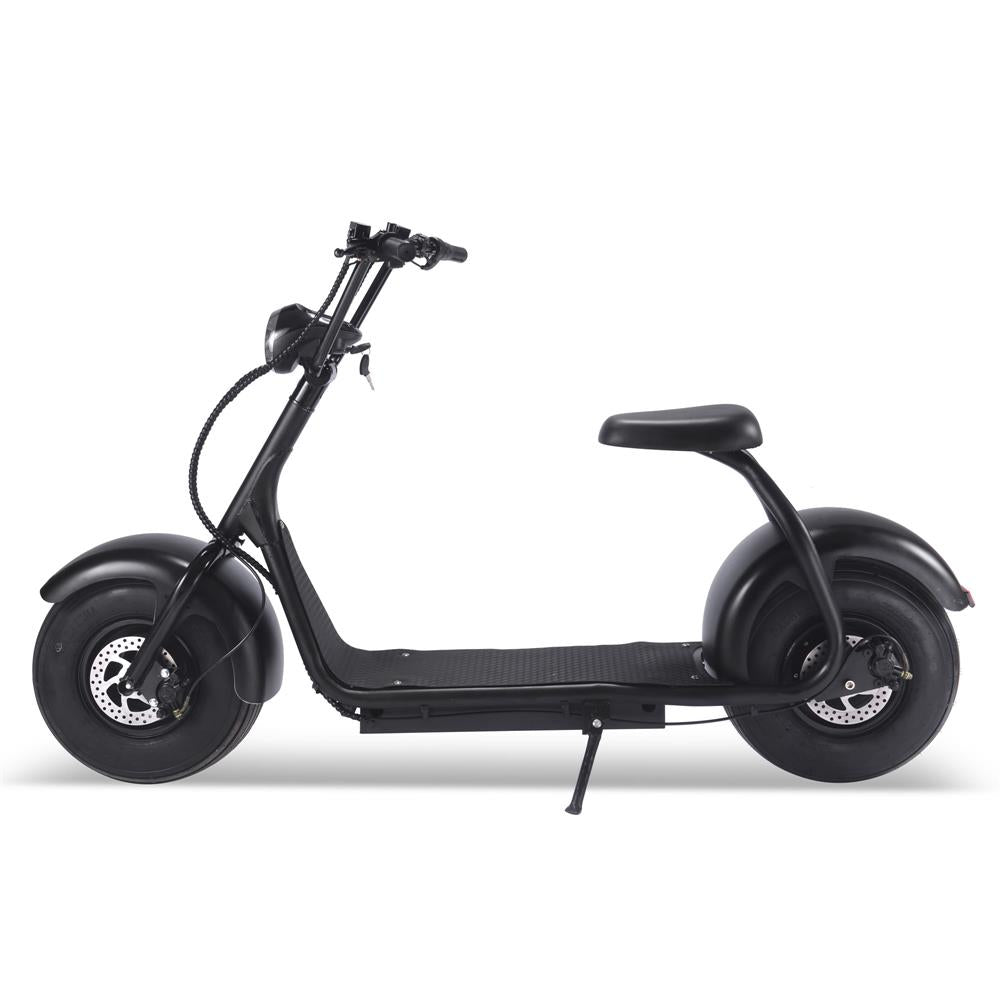 MotoTec Fat Tire 60v 18ah 2000w Lithium Electric Scooter left to right