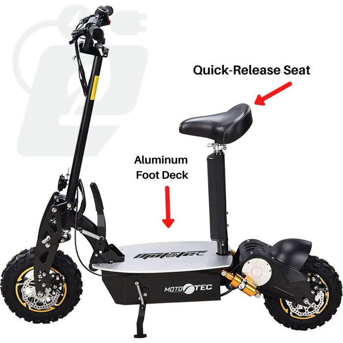 MotoTec 2000w 48v Electric Scooter w/Quick Release Seat