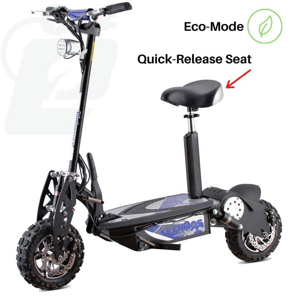 MotoTecChaos2000w60vLithiumElectricScooterwithquickreleaseseat