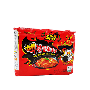 Samyang 2x Spicy Hot Chicken Flavor Ramen, 1 Case (8 family packs), 197.2oz