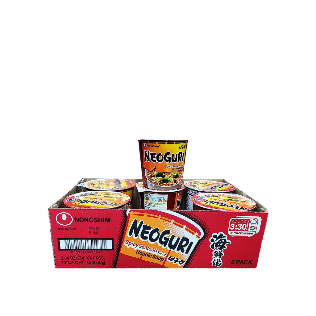 Nongshim Neoguri Noodles, Spicy Seafood, 1 Case (6 cups), 15.84oz
