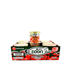 Nongshim Soon Vegan Chili Tomato Noodle Soup 1 Case (6 cups) 15.8oz
