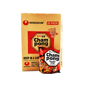 Nongshim Champong Noodle Soup 1 Case (20 single packs) 5.46Lbs