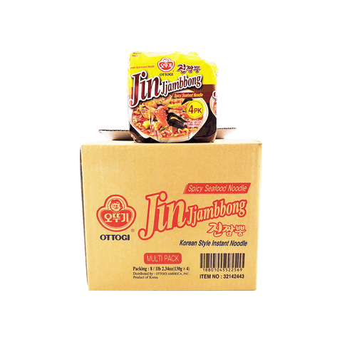 Ottogi Jin Jjambbong Spicy Seafood Noodle 1 Case (8 family packs) 4.16kg