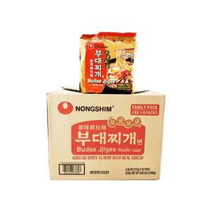 Nongshim Budae Jjigae Noodle Soup, 1 Case (8 family packs), 8.96Lbs