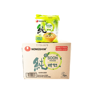 Nongshim Soon Veggie Noodle Soup, 1 Case (8 family packs), 7.90Lbs