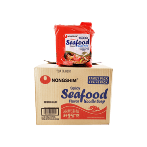 Nongshim Spicy Seafood Noodle Soup, 1 Case (8 family packs), 8.8Lbs