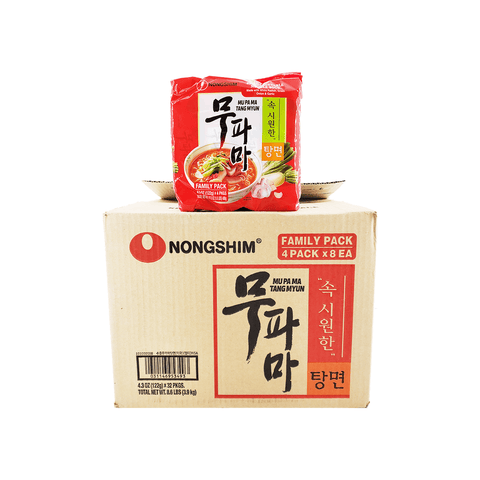 Nongshim Mu Pa Ma Spicy Vegetable Noodle Soup 1 Case (8 family packs) 8.6Lbs