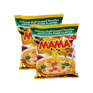 Mama Oriental Style Instant Noodles Artificial Pork Flavor Single pack  Twins 4.24oz