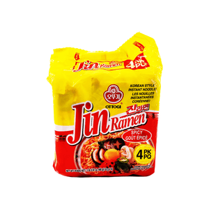Ottogi Jin Ramen Spicy Flavour Family pack (4 single packs) 1lb 0.02oz