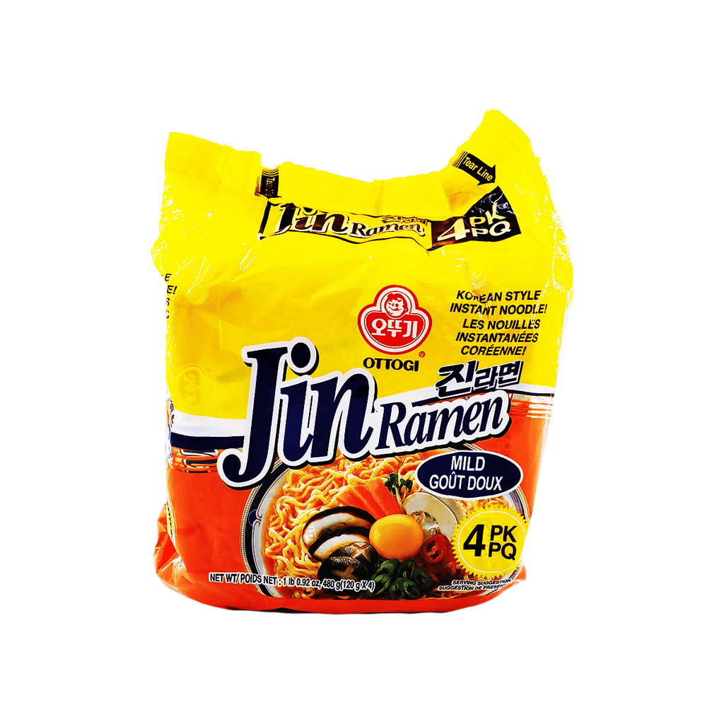 Ottogi Jin Ramen Mild Flavour 1 Case (8 family packs) 135.36oz