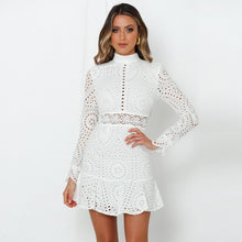 Load image into Gallery viewer, Elegant White Lace Embroidery Mini Party Dress Long Sleeve Ruffle Hollow Out Office Dress Vintage Slim Short Formal Dresses
