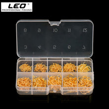 Load image into Gallery viewer, LEO 600PCS/BOX High Carbon Steel Fishing Hooks Sharp Barbed Circle   3#-12#