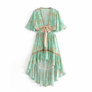 Vintage chic women floral print short sleeve rayon Bohemian dresses Ladies V neck Tassel Summer Boho pleated Maxi dress vestidos