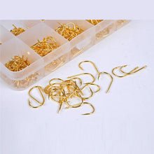 Load image into Gallery viewer, LEO 500pcs/box Multiple Sizes Golden Fishing Hooks Anti-corrosion Flat Head Barbed